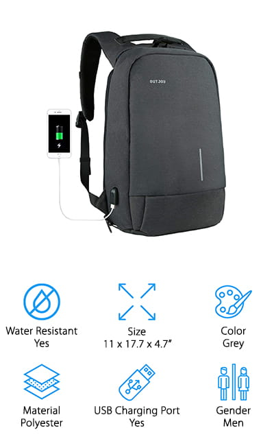"Here we have a stylish business bag that fits a laptop up to 15.6"" and a whole lot more. It's a somewhat thinner bag than some you'll find, but it still gives you the space you're looking for, a charging port built right in and the water resistant feature that you definitely need. All of the zippers are hidden, so you're not going to have anyone grabbing things without you noticing. Plus, there's a phone holder right next to the USB port to make sure you can charge it on the go. Wear-resistant, this bag has rip resistant polyester to keep it durable and long lasting. There are shockproof compartments for your laptop and tablet and cushioned foam throughout to add extra protection. Ergonomic and breathable, this bag is one you won't mind wearing for an extended period of time."