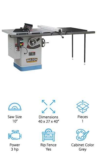 "This system is going to get you everything you're looking for when it comes to a cabinet style table saw. It's weighted primarily on one side with the added space for your project only on that side instead of an extension to both sides. But it does have legs that provide added support and durability while you're at it. You'll have a 3 horsepower system, which means it's more powerful than some of the other options, and you'll be able to get up to a 50"" rip cut, which makes it larger than a lot of other options as well. All you're going to need is a 10"" blade and you're going to be ready to get started with this system that's designed to keep your entire workspace clean and clear while you go. You'll have an aluminum extension, a miter gauge and a flip stop to make sure you're ready to go, as well as the riving knife and dado insert."