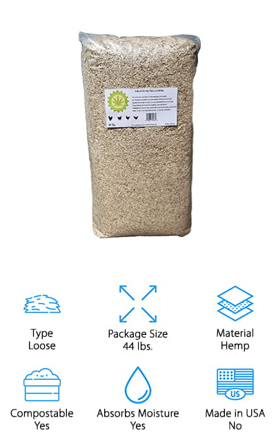 If you're looking for chicken bedding wood shavings you'll want to take a closer look at this hemp product which is super absorbent and eco-friendly. You can feel great about using it because it grows fast and is highly sustainable. Not only that but it's made without chemicals or pesticides and it's able to absorb up to 4x its own weight. You'll have very little dust and you'll have odor absorption, which you can feel great about when you're putting it in a chicken coop (no one wants those odors). The bedding itself is biodegradable and it's compostable, so you can put it anywhere you want and you won't have to worry about getting rid of it when your chickens need their bedding to be swapped out. If you're looking for organic compost material this is going to be a great start for you.