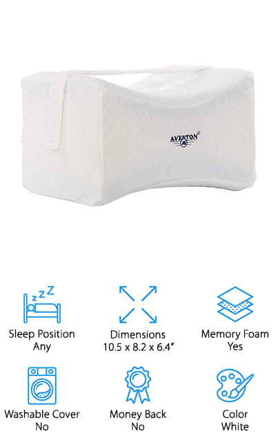 This may be one of the best knee pillows for sleeping options you're going to find and it actually comes with plenty of extras. You're going to get the pillow itself plus a cover and an extra cover and storage bag. That means you can put it away when you're not using it or when you want to transport it somewhere. You'll also have an extra cover so you can easily get the first one clean even while you're using the pillow. Made with two different kinds of foam to provide just the right balance of support and softness, this pillow is great for side sleepers and features a strap to make sure it stays right where you put it every night. Slightly larger than similar options, this pillow also has a 12-month warranty so you know you're getting something high quality. It may help those who are experiencing pain through their hips, legs, lower back, knees and more.