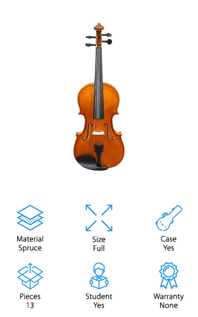When it comes to the best violins for advanced students, we've saved the best for last. This starter kit by YMC comes with a ton of different accessories as well as a high-quality violin. The instrument is hand-carved and made of spruce and maple, with a rosewood fingerboard and chin rest. The tailpiece with its four fine tuners is made of a sturdy alloy. It comes with one ebony Brazilwood bow, a shaped carrying case, shoulder rest, and electric tuner. This kit also includes rosin, a set of strings, polishing cloth, and even a hanger stand. No matter what your skill level, this violin kit will have everything you need. These full-sized violins come in a variety of colors, from antique to black, and even purple, pink, green, and blue. Customize to your heart's content while you're learning the basics of violin-playing. The materials are high-quality, and this violin will definitely last you a while.