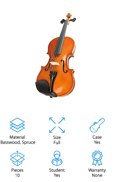 Windsor makes this violin 'super kit' with a ton of accessories to help you get playing. First, it comes with a full-sized violin with a classically contoured body, making it comfortable to learn while you look great. Of course, the highlight of this kit is the fact that you'll have everything you need right out of the box. You won't have to buy any other accessories to trick out your violin! It comes with a padded violin case that's easy to carry around, as well as a lightweight music stand for when you are learning to play a piece. There are two sets of high-quality strings that come in addition to the ones already on the violin, as well as a violin tuner to help you get the perfect sound, and two packs of rosin to keep your bow supple and sounding great. It also comes with a full-sized bow so you don't have to worry about buying one.