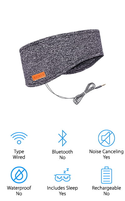 Last but not least is the Azzker Sleep Headphones, a sleep mask with built-in speakers to allow you a comfortable night's sleep without charging issues. The four-foot braided cable will keep the line from getting tangled as you sleep so no worries there. They are easy to take with you on a trip or just to take a nap at home. All you have to do is plug in your device and you're good to go, with no pairing or internet issues to get in the way. If you want a simple set of sound deadening headphones for sleeping, these are some of the best. The 3.5mm jack is compatible with just about any headphone jack on any device, so you can listen to just about anything while you're falling asleep. It's a lightweight, breathable mask that's great for use just about anywhere, and perfect for when you want to sleep peacefully and without interruption.