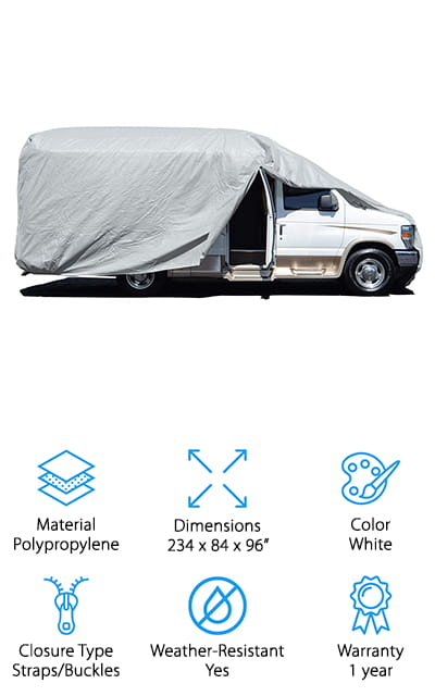 When you need a heavy-duty cover for your Class B RV on a budget, this might be the cover for you. Budget Premier's RV cover is made from heavy-duty polyester and polypropylene, which work together to keep the water, moisture, and dirt off of your RV. Keep scratches down while you're parked or when you're taking a season off from traveling. It's 100% waterproof, with an extra DWR coating just to make sure that you're getting the best protection. The full-height zippered panels allow you complete access to the doors, windows, and all of the other accessories on your RV. Don't worry about having to remove the entire cover if you forgot something inside. The air vents protect against air lofting and the bottom corners are elastic, meaning they will cling to the shape of your RV or trailer with no additional work on your part. Plus, it can reduce the moisture between the cover and your RV.
