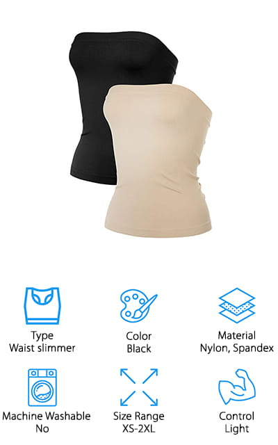 The first thing that stuck out to us about this nylon-spandex blend tube top was the number of different color options you had. What looks like an otherwise standard waist cincher/slimming piece comes in a ton of different colors to make sure that you love the way you look. This is a strapless, medium-length tube top shaper that gives you light compression and stomach control while leaving your bust and upper body free to move. It has ribbed bands on the top and bottom that hold tight to your body so that it doesn't ride up or move when you're moving. When you go exercising outdoors, you can wear this tube top as part of your exercise gear. It's UV-protective and can help boost your workout! You need to wash it by hand when you're done with it to ensure the best results time after time. You're going to love how useful this cincher is for your life.