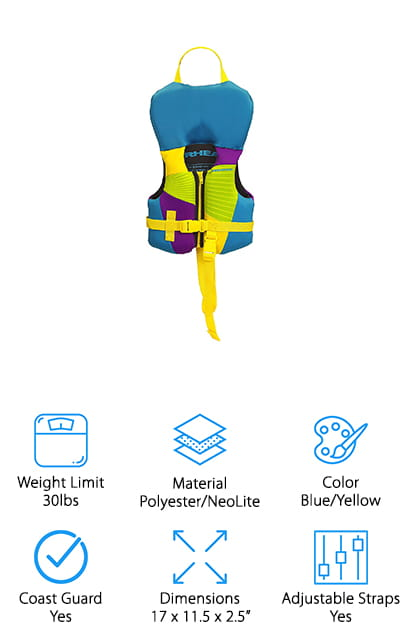 Gnar makes this great Kwik-Dry life vest for infants between 15 and 30 pounds. It's constructed with high-quality materials, like NeoLite that dries almost instantly once it's out of the water, and soft 2 00 denier polyester. This material is durable and will hold up to tears and abrasions. You only want the best for your child, so why not choose the best for them? It's approved by the US Coast Guard and conforms to all of the proper regulations and requirements to be sold as a personal floatation device. It's a breathable life vest with a supportive headrest to keep your infant's head up, and larger armholes for ease of movement. You want your child to be comfortable and have fun on the water, right? So why not give this life jacket a try. It comes in a ton of different bright color options, including this blue and yellow pattern that's going to stand out.