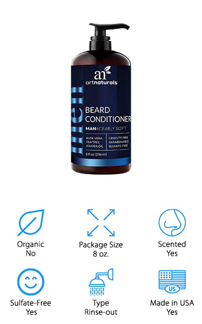 Another way to help promote healthy beard growth is by taking care of the skin underneath your beard – and this deep conditioner from ArtNaturals is a great place to start! This is a rinse-out formula that you use in the shower to moisturize and treat your beard and skin. Just work a small amount into your beard, wait a couple of minutes, rinse out, and then style as you wish. The sulfate-free conditioner won't dry out your beard or irritate your skin. It also has natural botanical ingredients like tea tree oil and lavender extract that help to clear up dandruff, reduce redness, and prevent itchiness as your beard grows out. Nettle leaf extract and licorice root extract help promote healthy growth and encourage hair to regrow in patchy areas. You can also buy a beard wash to go with this, which is great for cleansing your beard of any oils or waxes you use to shape your beard every day!