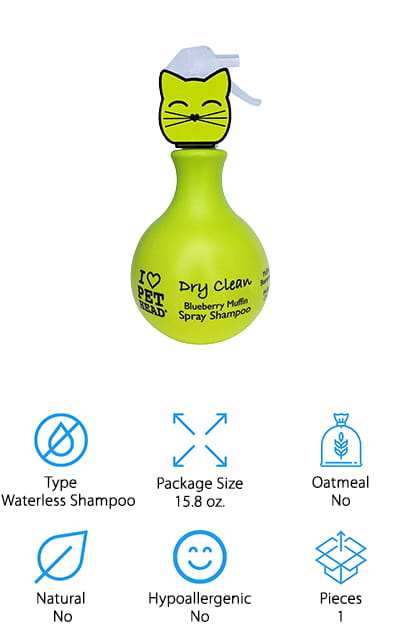 Our final review today is another great option if you want a waterless shampoo for your cat from Pet Head! This shampoo sprays on evenly to lift away dirt and dander, while also conditioning and strengthening its coat. Once you spray it on, just towel or brush it off to reveal a clean, happy cat! It's great to use on both kittens and cats of all breeds, and won't interfere with their flea and tick medication. We also like that this formula is absolutely safe for your cat to lick off, which is great if they happen to do that between spraying and wiping them down – no worries! It also has a sweet blueberry muffin scent you and your cat will love! This is great if your cat hates baths or to give your cat a freshening up between baths! It's also great if your cat gets into something dirty while traveling, and giving them a bath isn't an option!