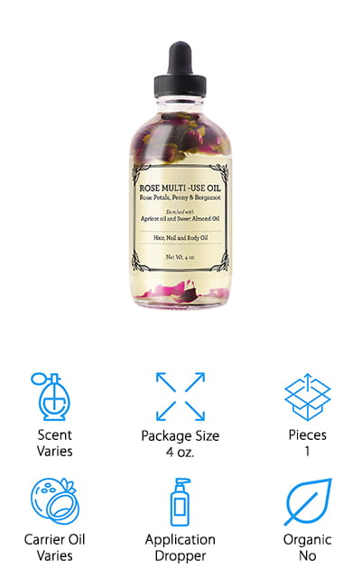 Another scent we enjoy using in our skincare routines is rose, and this Rose Body Oil from Provence Beauty feels as luxurious as it smells! It's infused with apricot oil, which is packed full of vitamins A & E, which soothes irritated skin and promotes elasticity. It also has sweet almond oil, which is full of antioxidants to help smooth fine lines and moisturize dry skin. Coconut oil rounds out this massage oil as a lightweight moisturizer that won't clog pores or leave a greasy residue. The luxurious blend of rose petals, peony, and bergamot give this massage oil a sweet, fragrant aroma that will leave you feeling calm and relaxed after your massage. This oil is great for using all over your body, too! In addition to massaging muscles, it also makes a great moisturizer for your face, nails, and hair as well! Oh, and the packaging is absolutely beautiful with rose petals floating on top of the oil!