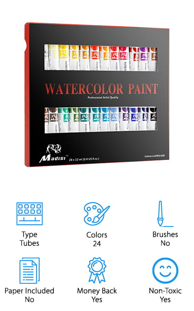Our last review is from Madisi, a professional-grade set of watercolor paints that crafters, art students, children, and professionals of all ages and ability levels will enjoy! This kit comes with 24 large, high-quality tubes of concentrated watercolor paint that you can use with your favorite palette to dilute and mix however you want. The colors available are beautiful, vibrant, and easy to mix – no chalkiness or cloudiness! They are also sun-proof, so you can feel confident that your artwork won't fade once you hang it up in your home! We like that they're non-toxic, making them great for use with children, or just to make sure the paints you use for your professional work are safe to work with every day. This kit is also a pretty good value, so you could easily pick up a few sets for your favorite art students, friends, and even grab one for yourself to try your hand at painting with watercolors!