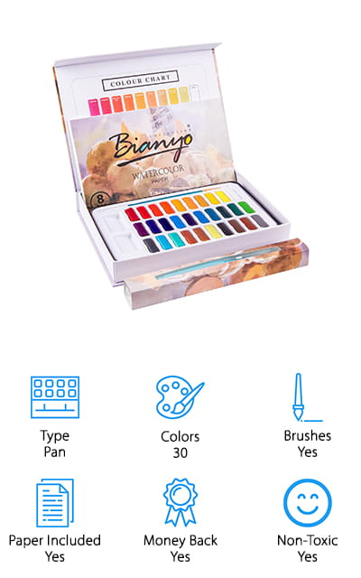 Another option if you're looking for a complete kit to give or get is this beautiful set from Bianyo. It comes with all the accessories you need to start learning how to use watercolors! The kit has 30 watercolor cakes in a variety of vibrant colors that you can thin out easily with water, and they dry quickly for easy storage when you're done using them. We also like that this kit comes with a small paintbrush and an extra water brush you can use to store water while you travel, or use it to try your hand at calligraphy writing! It also comes a packet of 8 pieces of watercolor paper, so you can create your first piece of artwork right away – no need to run to the art supply store for extra paper. Everything is packed neatly in a beautiful gift box, and we think this is a wonderful gift idea for friends, family, and for yourself too!