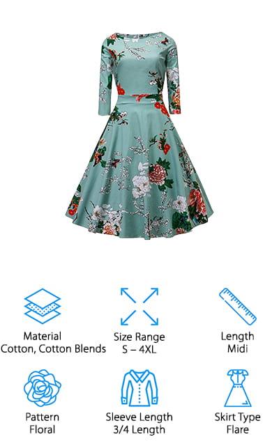 BestWendding Floral Vintage Dress