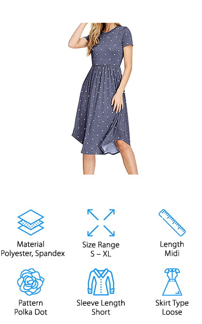 This midi-length dress from Simier Fariry is a great option if you're looking for a basic and modest dress that you can accessorize and personalize! We like the basic polka dot pattern on this dress because you can easily add your own jewelry, belts, scarves, sweater, jacket, or other accessories to switch things up! You can make one dress work for a variety of occasions, like brunch with friends, a day in the office, date night, and even a summer wedding. The scoop neck and short sleeves fit comfortably, thanks to the stretchy material. The skirt is flowy and has pockets for easily storing small accessories like your phone, lip-gloss, or whatever else you need! It comes in sizes S-XL, and the sizing chart is easy to follow to ensure you get the right fit. We think this dress is great for women who want a versatile dress that is easy to personalize, packs well, and is easy to wear!