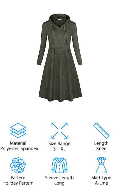 Our final review is this knee-length hooded dress from SeSe Code we think is perfect for fall and winter! We like the hooded sweatshirt style of this dress, making it perfect for casual events like going to school, a day of shopping with friends, volunteering, and more. The fabric is soft and not too thick, so you can layer it with your favorite jacket and tights in the winter for a cozy, yet covered up look. It also comes in long-sleeved and short-sleeved styles, so you can get the look you want while adhering to modesty rules if necessary. The skirt actually hits right below the knee on most women, but you could easily tailor it if you prefer it to be knee length or shorter. It also has hidden pockets on both sides that are perfect for carrying accessories like keys, phone, gloves, sunglasses, and more! We think will make a wonderful addition to your fall and winter wardrobe!