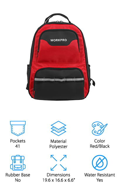 This WORKPRO Tool Backpack may look like a small tool backpack but its size is deceptive. It actually has room for a 15-inch laptop as well as 41 different pockets including 33 organizational interior pockets and 6 exterior ones. That's not all, there are also 4 interior elastic belts for additional storage and an exterior reflective striped one for added visibility. The material is tough, durable, and designed to withstand harsh weather and work environments and the bottom of the bag features 4 PVC feet that keep the pack elevated off the ground and standing upright. You'll find the tools you need quickly while also keeping the bottom away from wet or abrasive surfaces. Plus, the adjustable shoulder straps and dual carrying handles provide extra comfort and support for transport.