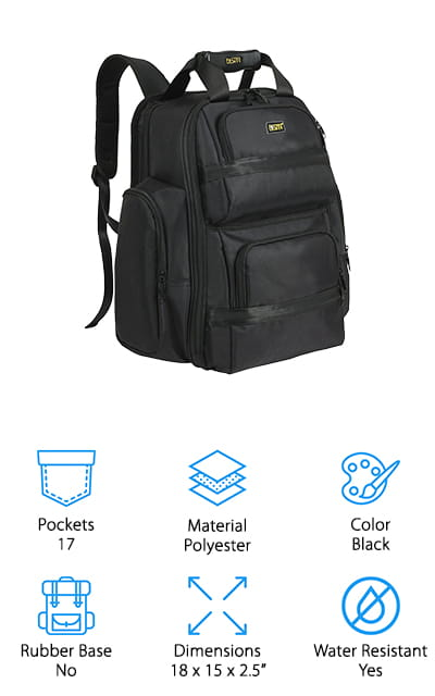 Last but not least in our tool backpack review is the FASITE X518 Tool Laptop Backpack. In addition to having room for essential tools, it also holds most 16-inch laptops and tablets. The ballistic weave material is durable, waterproof, and really strong and versatile. There are 17 pockets in all including 2 U-zip pockets, 2 large main compartments with individual pockets for tools, 2 side compartments for an umbrella or other travel essentials, and even a spot for a large water bottle. There's also interior steel support to prevent your belongings from getting crushed and comfortable straps for easy carrying. Another great thing about this pack is it's covered by a money-back guarantee one 1 year. If you don't like it, FASITE will give you your money back or replace the product.