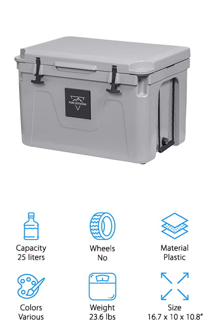 Next up is the Monoprice Pure Emperor Cooler which can keep your cold things cold for more than 130 hours no matter what the weather. It made with extra-thick walls manufactured using pressure-injected commercial grade polyurethane foam. And features a durable rubber anchor latch to keep the lid securely closed as well as a steel reinforced padlock hole so you can add more security if necessary. All in all, it's safe to say that bears won't be able to get into this one. There are a lot of little things that make this cooler even better, like the built-in bottle opener and tie-down slots so you can keep it from sliding around in the back of your car. Plus, it comes with a lifetime warranty and 30-day money back guarantee.