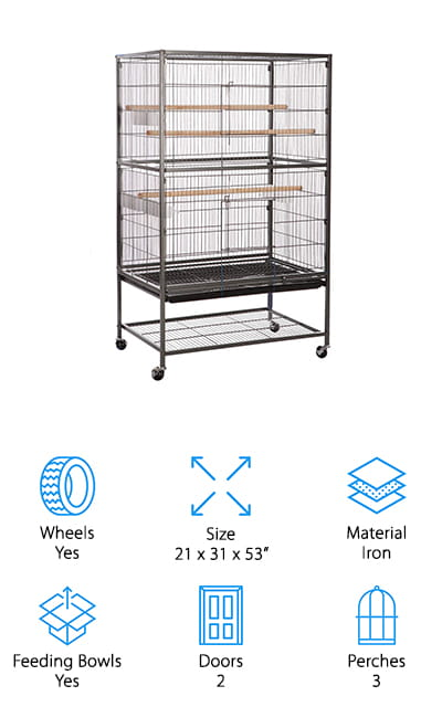 Next up is the VECELA Large Bird Cage which is a perfect choice if you're looking for something that's spacious with a really simple design. It's made of high-quality metal wire that's powder coated to resist both rust and wear and tear while giving the metal a smooth surface. This cage has 3 different perches at different levels which gives your bird a lot of space to climb and explore. Flexible casters make for easy moving and the bottom shelf storage comes in really handy when going from one room to the next. Removable grates and trays keep messes contained and make cleaning a breeze. There's a large front door so your birds can get in and out as well as 4 feeder doors for quick and easy access when it's time to refill the feeding bowls.