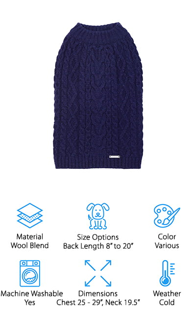 Blueberry Pet Cable Knit Dog Sweater