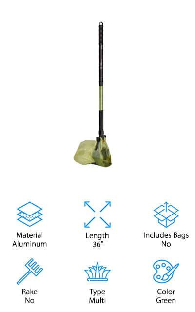 This portable dog poop scooper is actually a complete set. You're going to get the scooper itself and it comes with bags and a whole lot more. You'll have a long handle that actually telescopes, making sure you're comfortable using it. It's also made with aluminum so it's lightweight and durable. On top of that, you can use any bags you want and even collect more than just solid waste. Completely anti-microbial, this system even comes with a 3-year warranty that lets you know that it's durable and meant to last. Because you use bags you don't have to worry about the scoop itself actually getting too dirty. You'll be able to clean up after animals that are small and large and you get bags included so you don't even have to wait around before you can get to cleaning up.