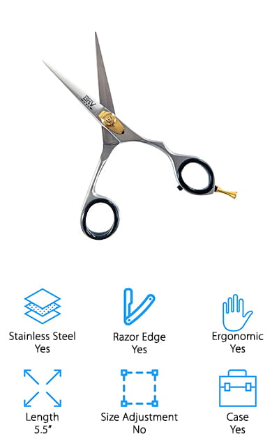 These professional beard scissors are definitely sleek and stylish. The stainless steel scissors are high quality and super sharp and they also have an ergonomic design that's comfortable and easy to use, whether you're looking for right or left-handed use. You can also adjust the tension using the screw. Gold brass pins coupled with the matte stainless steel are definitely going to be a great look and they work great for any facial hair including brows, mustache, and beard. With these scissors, you're going to have no problem or you can get your money back. That's because you're going to have a money back guarantee. Precise and styled to be given as a gift, these are definitely scissors you're going to want in your own morning routine.