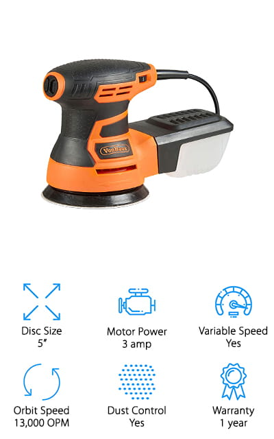 "This might be the best 6-inch random orbital sander, with all of the features you're going to get. It's a 6"" sander, but it also has variable speed up to 13,000 OPM, which is going to get you plenty of power and features. The random orbital design and the 5 extra pads you're going to get mean that you can get started on any project and get it ready to go in no time. You'll also have a dust extractor system that makes sure all of the dust and debris that you're letting out through your project you're going to get rid of just as quickly. That's definitely going to be an important step in the process. With an ergonomic design for the handle and a rubberized grip, it's going to be comfortable to hold onto and to use, even for more extended periods of time. Plus, you're going to have different grit papers included so you can get the finish you want, no matter what that next project actually is."