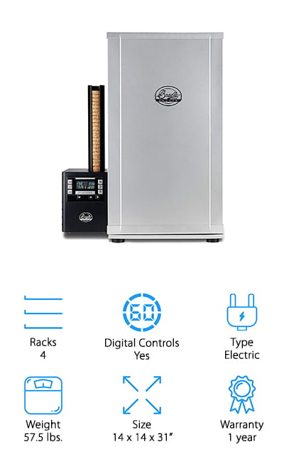 This large smoker is electric and features all of the top-notch features that you're looking for. That includes the 4 racks to give you plenty of cooking space as well as up to 8 hours of controlled smoke and precise temperature control up to 320°F. That means you get to really decide what your food is going to look like and you can make sure that every time you cook it's going to taste exactly the same. Plus, the whole thing is super easy to clean because it's made with a powder coated steel and stainless steel on the inside. Control the temperature, the time and the smoke from the digital controls on the exterior of this unit and definitely enjoy the fact that you're getting all of these great features without having to pay a premium price. This whole system comes with the smoker itself as well as the generator you need to get it going.
