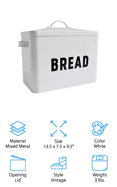 This metal bread box actually tells you what's inside it right away, giving you the bold proclamation of 'bread' printed on the exterior. It's made of a mixture of high-quality metal to make sure that it looks a little vintage and definitely stylish sitting on your counter. You also won't have to worry about keeping your bread fresh because that's exactly what this box is designed to do. You'll be able to store up to 2 loaves of bread (and maybe some other baked goods while you're at it). All you need to do is figure out where you want to put it and you'll be off to a great start. The easy to remove lid makes it simple to fill up and you'll also have no problem sealing the box when you want to make sure that your bread is getting just the right amount of air, but not too much.