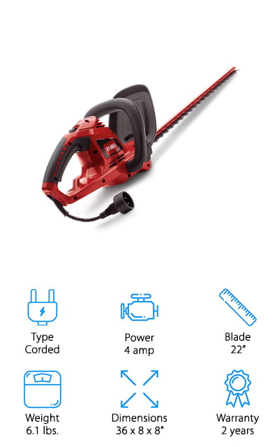 """This 22"""" hedge trimmer is a corded model that still gives you plenty of control and versatility. It has a 2-year warranty that lets you know you're getting something that you can count on to last and it has a strong motor to get you through sticks and branches that are large as 9/16"""". Small in size, it's still going to get the job done with no problem and it's going to do it in an easier fashion too. That's because this is actually a lightweight option with a comfortable handle and a whole lot more. If you're looking to get trimming in your yard this system is going to take care of it with the hardened steel blades and the dual action cutting. That means you're going to have less of the vibration that you might have experienced with other hedge trimmers."""
