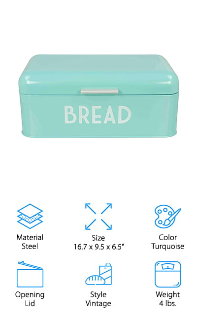 Home Basics Metal Bread Box