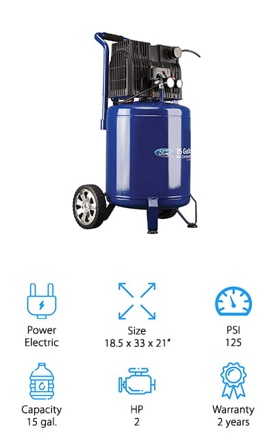 This air compressor for home garage is great for just about anything you want to do because it has a 15-gallon tank as well as a capacity of up to 125 PSI. It's made by Ford, which means you definitely know the company that's standing behind this compressor with its 2-year warranty. It's fully electric, so you'll be able to add air pressure to anything at all. On top of that, because it doesn't have any oil you're going to have no problem keeping things clean and you're going to be able to keep it better maintained. This is really quiet, which means you're going to have no problem using it wherever and whenever you want, without having to disturb people around you (including your family). The moderate price is also going to be a great thing and the fact that you can lean it back on the wheels and slide it around where you want is going to be great for anything you need.