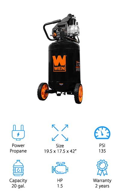 This is actually quite a large air compressor, giving you 20 gallons of capacity, so it's ready to go no matter what. You'll have a 2-year warranty to complete everything too, which means you're going to have something that you can definitely enjoy using and keep using for a long time. This unit has up to 135 PSI and it's able to quickly drain as well as loading just about anything you want. It comes with accessories to make sure you can fill tires, balls and a whole lot more with no problem at all. What's really great here is that you're going to have a handle and wheels that make it really easy to transport this compressor around to different areas of your job site, your garage or even take it with you when you want to travel somewhere.
