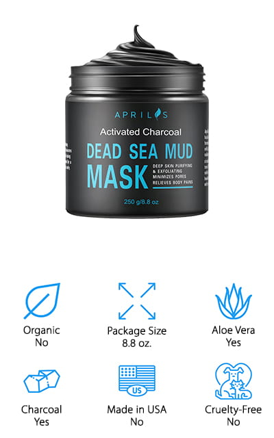 Designed with activated charcoal as well as aloe vera, this product is designed to work well for reducing pores, spots, and acne. It's also more of a clay rather than the smoother and lighter material that you'll find with a lot of other masks. Intended to help exfoliate your skin and minimize your pores, it may even be able to relieve pain in different parts of the body. It does all of this by cleansing the skin and removing oil, dirt and even toxins. From there, it may be able to make a whole lot of differences that you can really enjoy. Some of the other ingredients, like calcium, magnesium, shea butter and jojoba oil may even be able to help with increasing the hydration in your skin and making it look and feel a whole lot younger. On top of that, you won't find fake thickeners, pigments or artificial flavorings added into this mud.