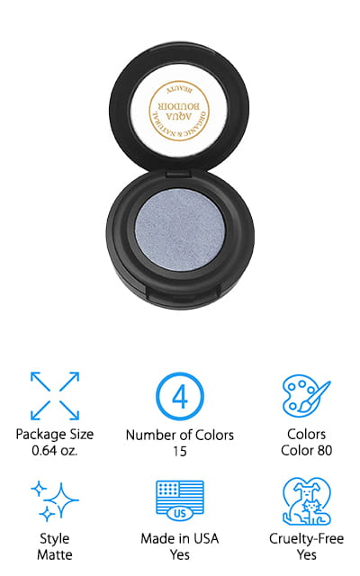 Here you're going to have a simple eyeshadow that is fully natural and certified to have at least 85% organic ingredients. That means you can feel great about using it and you can definitely enjoy the look and overall style of it too. The finish is a matte, so you're going to have a good color without the added shine. You're also going to get some moisturizing benefits because of ingredients that are in here, but you're going to like the ingredients that it doesn't include even better. You're not going to have parabens, petrochemicals, phthalates, synthetic fragrances or dyes, sulfates, lead, gluten or preservatives. On top of all of that this product is fully vegan as well. Altogether, these benefits are going to make it one of the best choices you'll find anywhere for eyeshadow.