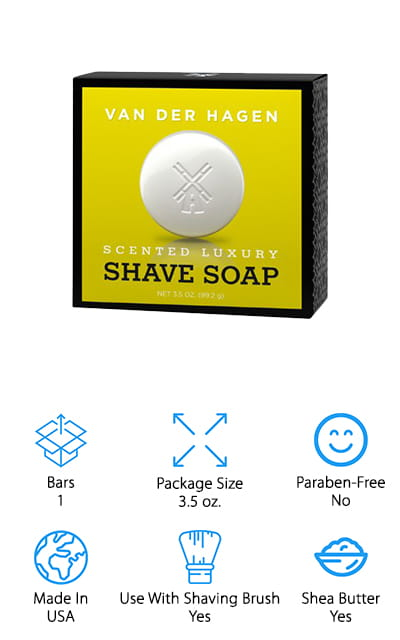 Your array of shaving accessories start with the right soap and this one is a great option to go with. It's hypoallergenic as well as being made with over 10% glycerin. You'll be able to get the softness that you need to your beard in order for you to use your shaving brush and razor to get through it and create a smooth shave. When you're done it's also going to make sure that your skin feels super soft, with a number of different hydration benefits included. What you can really feel great about is that this product isn't tested on animals, so it's considered cruelty free. Plus it's vegetable based, which makes it even better for your skin than most chemical-based products you're going to find primarily.