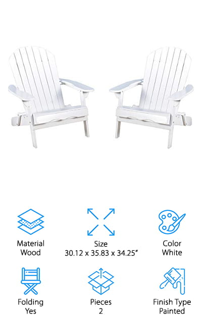 Our final review is for this set of 2 folding Adirondack chairs from Great Deal that is …well…a great deal! We like that these wooden chairs can be folded up and taken wherever you want to go. They will look just as great in your backyard as they do at the beach, or take them to an outdoor concert! You can get them in a classic painted white, grey stained, or get the unfinished for a natural look. The acacia wood is durable and feels soft and cozy at the same time. They also weigh 30 pounds each, which is fairly lightweight for wooden chairs. This means you can take them wherever you need to go without tiring yourself out! We also like that these chairs are incredibly comfortable. They have wide armrests to set your favorite drink on, and contoured seats that you can sink into. We think these are great for people who want comfortable seating anywhere they go!