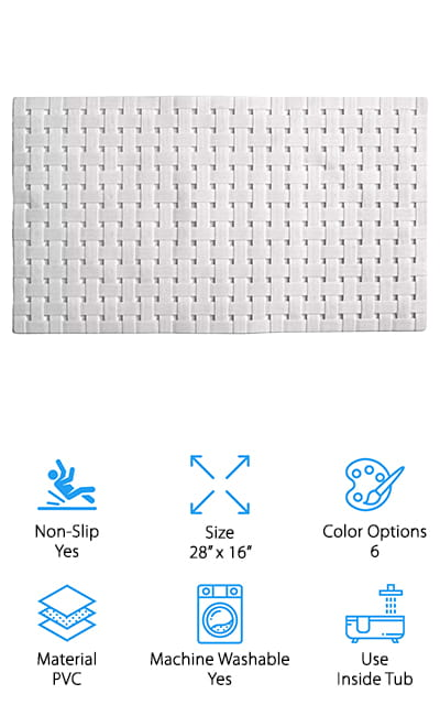 Our final review is for this inside-tub mat from All Pride! This PVC bath mat is eco-friendly, highly effective, and easy to maintain. We like that this is made of PVC because it's environmentally friendly while also being antibacterial. This mat also has plenty of drainage holes to prevent bacteria, mold, and mildew from growing in your tub and staining your mat. It also helps to wash away soap scum, which can make bath mats slippery if they're not cleaned frequently. There are plenty of suction cups on the bottom to keep it firmly in place. We also like the textured top – it's like getting a foot rub while you shower! It's important to clean your bath mats regularly, and this one is machine washable for maximum convenience. It comes in 6 colors, from classic white to punchy pinks and greens. You can get one to match your tub, or get a bright color for bath time with your kid!