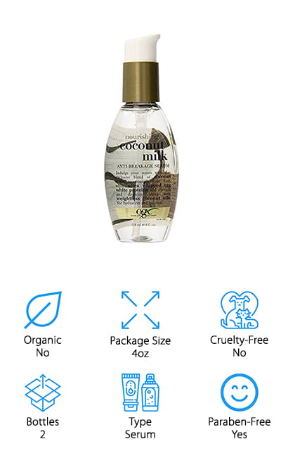 OGX is back on our list with this coconut milk serum. This serum should be applied to your hair after it's washed and left in to deliver continuous hydration to damaged hair. It's a weightless blend that doesn't leave your hair feeling or looking greasy but instead gives you a nice shine. Included in the mixture are whipped egg white and silk proteins, which work to wrap around each strand to protect it from the rigors of the day and your daily styling techniques. This anti-breakage serum helps to protect fragile ends and protect them from the wear-and-tear of each day. It smells great, and you're going to keep noticing the fragrance all day long because it will linger on your hair. We love that this serum works to protect each individual strand and keep your hair healthy all day long, even with harsh styling techniques. We know that you're going to love this after-shower serum!