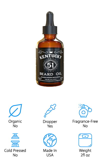 Last but not least is this beard oil from Kentucky 51. It's another jojoba oil-based beard treatment that can help your facial hair feel great, and it can even work to moisturize the skin below. If you have bad beard dandruff, using a product like this one can help keep your skin moisturized and feeling great. Plus, it helps your beard look tidier and well-groomed all day long so that you can move through your day with confidence. This beard oil is designed to last, sealed in a dark amber glass bottle so that the oil doesn't oxidize with light exposure. It's just as potent on the last use as it is on the first! Plus, the inclusion of a dropper can help you figure out exactly how much hydration your beard needs. This beard oil uses a blend of oakmoss sandalwood, apricot kernel, and jojoba oils to achieve the perfect balance of hydration for your beard and skin.