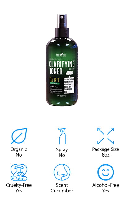 Last but not least on our list is this clarifying skin toner by Oleavine. This toner helps to balance the pH of your skin while toning it, tightening pores and fighting breakouts with cleansing and natural ingredients. It's an alcohol-free proprietary blend of a number of different ingredients, including astringents like spearmint, ginger, lemongrass, basil, neem leaf, tea tree, and witch hazel. You're going to get the most out of the product just from the great ingredients inside. It can help to boost your complexion and balance your skin, with the help of cleansers like aspen bark. It's a natural toner that's going to work well on your oily skin, and it won't dry out dry skin, either! When you need a natural toner to help clear up your skin, this is the perfect toner for you. Your skin is going to feel soft and moisturized when you use this great facial toner with a refreshing cucumber scent!