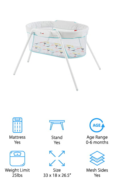 The Stow 'n Go bassinet by Fisher-Price is a comfortable retreat for babies up to six months old. The mattress pad is comfortable enough while remaining safe and the soft mesh sides allow you to look in on your baby. It also makes it breathable and increases the airflow to your baby, so they don't overheat. It's easy to assemble when you want to set it up, and just as easy to take it down. The legs come off so that you can store it in small spaces. It comes with a calming vibrational module that can help your baby sleep. The gentle vibrations can help soothe them right to sleep. The mattress pad is machine washable, which is a great feature as well! When you are traveling and need a familiar bassinet, this is the perfect solution. Or, you can use it at home to move your baby from room to room with you!