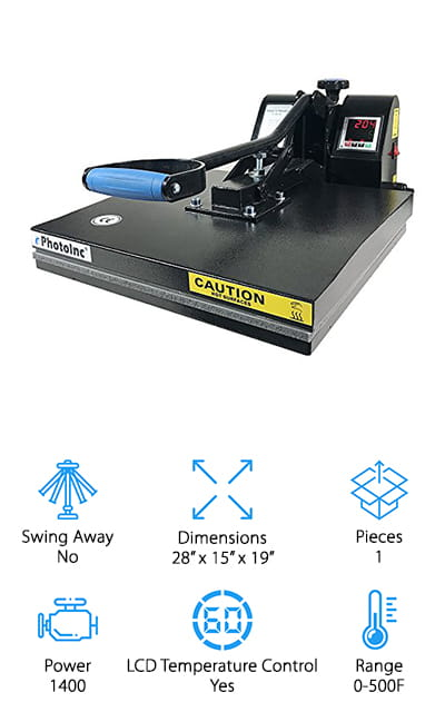 Even though this is an industrial level heat press that doesn't mean you can't use it for whatever you want. It's complete with a high tech, digital display and control for the temperature and the time. Not only that but it has a wide range and comes with everything you're going to need to get started (other than your transfers, of course). You'll be able to use it right out of the box because it's already assembled and you'll get permanent transfers because it's designed to apply just the right combination of pressure and heat. Create the perfect image for your own puzzles, tiles, mouse pads, shirts, bags and more. Your entire family is definitely going to love the things you can create (and so will any of your customers. All you need to do is figure out what you're going to create first.
