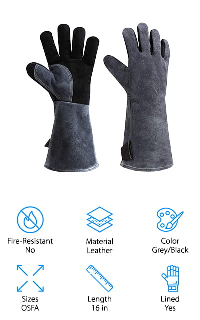 These gloves are going to come in at a moderate price point and provide you with up to 932 degrees Fahrenheit of protection. They're a deep gray in color and made with high-quality leather and a cotton lining. That means they're going to be durable and resistant to heat but they're also going to protect your hands better from that warmth. Plus they have moisture wicking capabilities. Able to protect further up the arm, these gloves are soft and flexible, making sure to protect you from heat, flames, debris and a whole lot more. They're great for just about anything you could possibly do throughout the day. What's really great here is that you can get a completely free refund if there's any kind of damage or if you decide that you don't like them within 90 days. That means you can give them a try completely free and you won't have to worry about how they do.