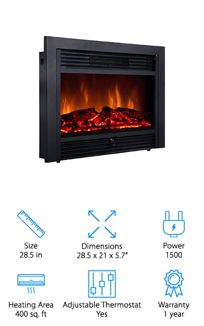 These inexpensive best electric fireplace inserts for heating are going to give you everything you're looking for and then some. It has an adjustable thermostat as well as 5 different levels of brightness to choose from. You'll have 2 different heat settings and you'll have a remote that lets you control everything from wherever you are. Even better, you don't need to worry about assembly because it's actually ready as soon as you pull it out of the box. All you need to do is plug it in and you'll be ready to go in no time. Able to heat up to 400 square feet, this unit also comes with a full year warranty. That means you're going to have plenty of time to make sure that it's in working order and that it continues to work well for your family.