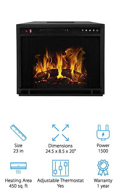 This fireplace insert has a slightly more old-fashioned look that's going to make for a unique fit in your home. It's available in 3 different sizes and provides you with 3 different heat settings as well, which include high heat, low heat, and no heat. You'll also have a realistic looking flame and several different dimming options so you can get the brightness that you actually want. Plus, you can choose different colors and set the timer for just how long you want it to keep going for. There's a satisfaction guarantee that says if you're not happy you can return this insert for a full refund and there's also a full year warranty so you know that if you do keep it then you're not going to have a problem with durability.