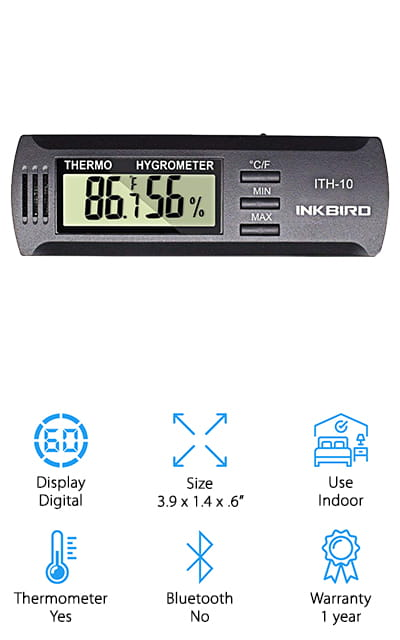 Get all the ratings that you're looking for with this best hygrometer for home use that gives you both the humidity and the temperature of a given area. It lets you know the current levels for each and also has buttons that you can change from Celsius to Fahrenheit and so you can check the minimum and maximum values for each of the recordings. Small and lightweight, you can actually use this system wherever you want because it's entirely portable. You can put it in your vehicle, use it in your house or greenhouse and even use it to measure humidity inside instrument cases. On top of that, it's going to come with a 1-year warranty so you know that it's going to last. All of these things make it a convenient option when you're looking for something inexpensive and simple to use.