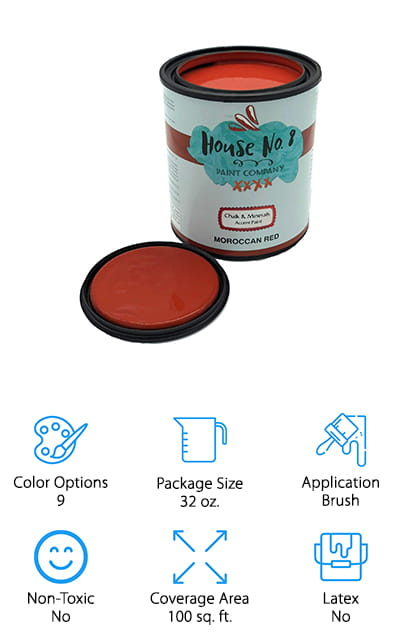 Available in several super fun colors, this paint comes in a 32-ounce container that covers up to 100 square feet of area. It gives you the best adhesion you're going to find, which means you can apply it to just about anything you want with no problem. Plus, you're going to have super easy cleanup. It actually cleans with just soap and water so you don't have to worry about a mess when you're done or even when you want to clean up whatever project you complete. All you're going to need is a sealant or wax to go over it and finish the look. With this container, you'll have a latex-free product that doesn't need any kind of prep. That makes it a whole lot easier for you to get it started and even get your project completed. It's a slightly higher-end product, but you're definitely going to love the results.