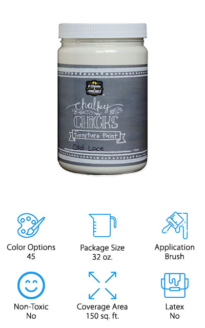 Available in over 40 different colors, this can be the best white chalk paint for furniture and is going to be great for any type of vintage look that you want. It's a latex-free paint that comes in multiple sizes as well, so you can get the coverage you're looking for. You'll have a 32-ounce container with this one, which can cover 150 square feet of surface, giving you plenty for that next furniture project. Moderately priced, you're getting paint from a company that's been in the business for over 15 years and provides the best quality you can find. You'll be able to apply this right out of the container, with no need for mixing or adding other products into it. You'll have something that looks great and you don't even need to be a professional in order to accomplish it.