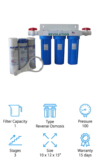 This inexpensive unit is actually designed to filter your entire household water so you'll be able to get the water you want for any purpose. It uses 3 different stages to filter out things like dust, dirt, silt, and sand, then chlorine, radon, VOCs, odors and colors and insecticides, pesticides and more. Plus it then improves the taste of your water. Completely built in the USA, this unit makes sure that you have plenty of water for everything and that you'll have up to 100 PSI to go along with it. That's going to make it easy to go about your household tasks. On top of all of this, you're going to have a 15-day warranty that gives you enough time to check it out and see how it actually works for you. Plus you get an extra set of filters. Change them out every 3 months and you're going to have the best water all the time.