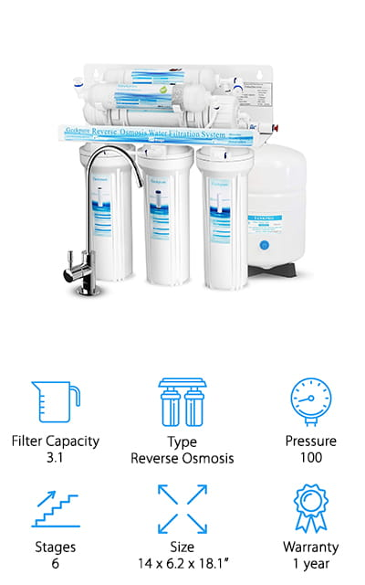 This inexpensive reverse osmosis filter is going to give you 100 PSI, which makes it a snap to get any of your normal household work done. It also has 6 different stages of filtration, which are going to make it a whole lot easier for you to get rid of the chemicals and more that you don't want. In fact, it's able to filter 99% of contaminants, down to 0.0001 microns. That means it's getting rid of lead, arsenic, heavy metals, mercury, hardness, chlorine, odor, asbestos, fluoride and a whole lot more. In all, it's getting rid of over 1000 contaminants. You can easily install this unit directly under the sink of your cabinet and you'll be able to trust that it's going to work because it comes with a 1-year warranty. Overall, you're going to have a unit that you can trust to provide you the water you expect.